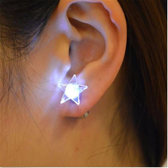 3pairs Uni Cool Light Earing Star Shape Stainless Steel Led Earrings Studs Dance Party Accessories For