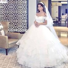 Elegant Off Shoulder Arabic Lace Ball Gown Wedding Dress 2016 Said Mhamad Vintage Lace Applique Ruffles Wedding Bridal Gowns A86