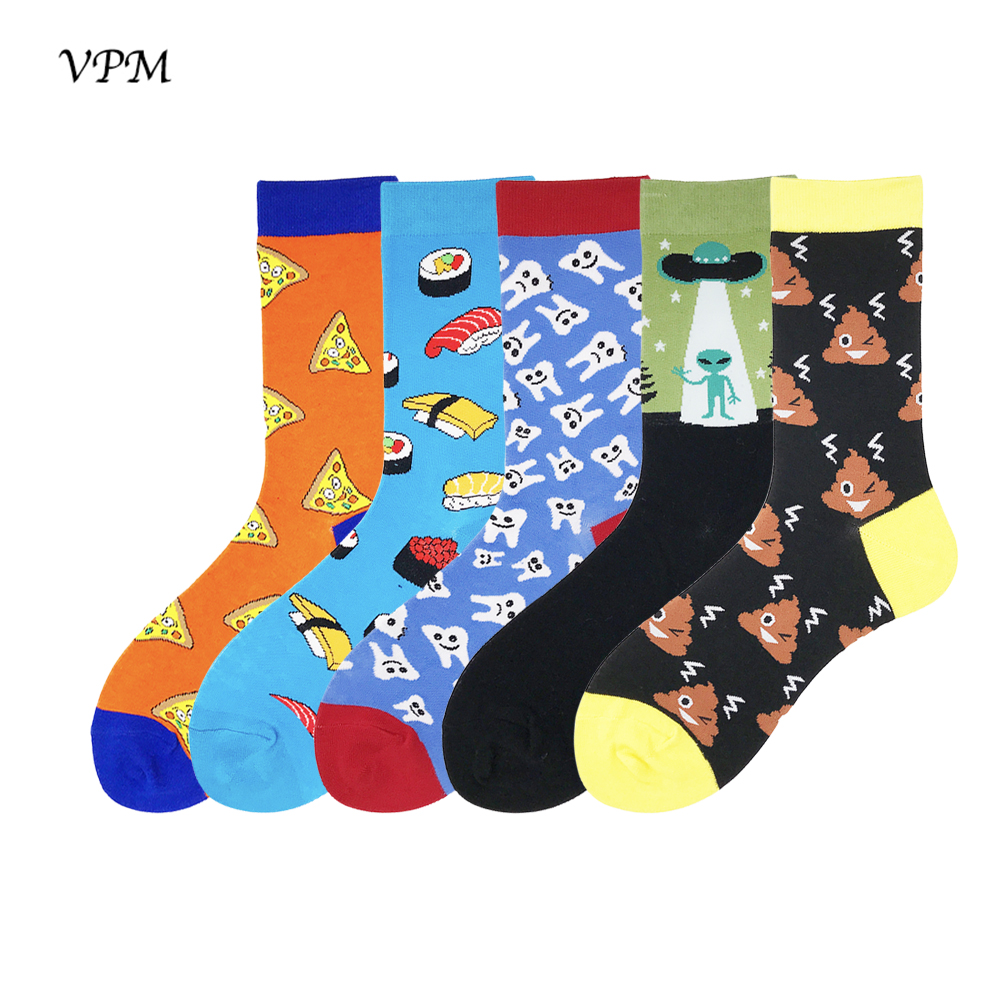 VPM Women&Mens Dress Socks Colorful Fashion Funny Happy Alien ET Sushi Wedding Sock Christmas Gift 5 Pairs/lot