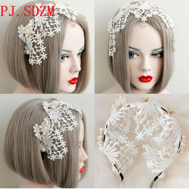 Hand Made Aesthetic Bride Lace Crown Pearl Hairbands Fresh Wide Bohemia Hair Accessory Girl Formal Evening Party Headband FG0157