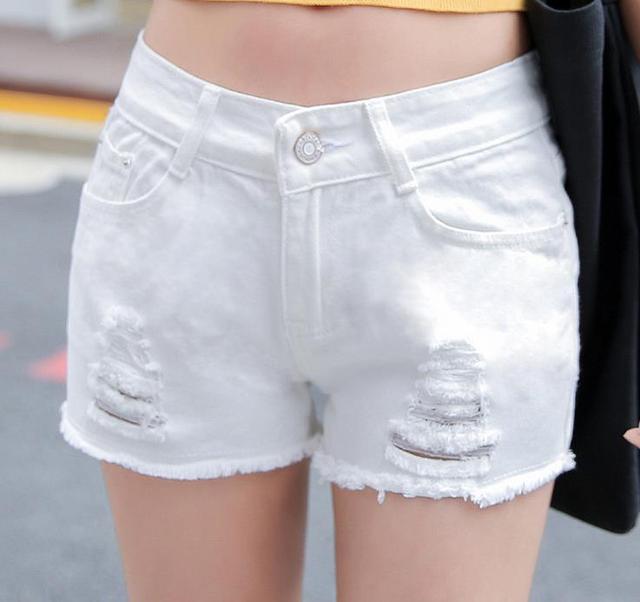 2016 Summer Denim Shorts Slim Fit Holes tassel ladyies Button waist sexy female Short Jeans for Women white plus size Jeans