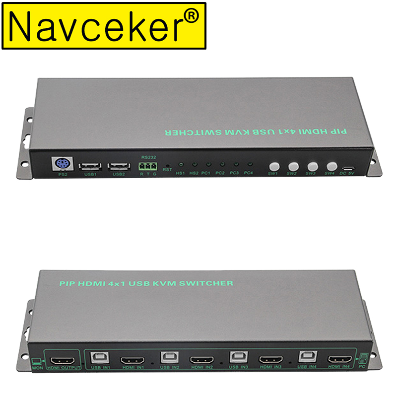 Navceker USB HDMI KVM Switch 4 Port USB KVM HDMI Switch Support 3840*2160/4K*2K PIP Extra USB 2.0 Many Computer Mouse&Keyboard|HDMI Cables| |  - title=