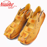 2016 Summer New Soft Bottom Flat Leather Shoes Personality Casual Women Sandals Tunnel Vintage Handmade Sandals