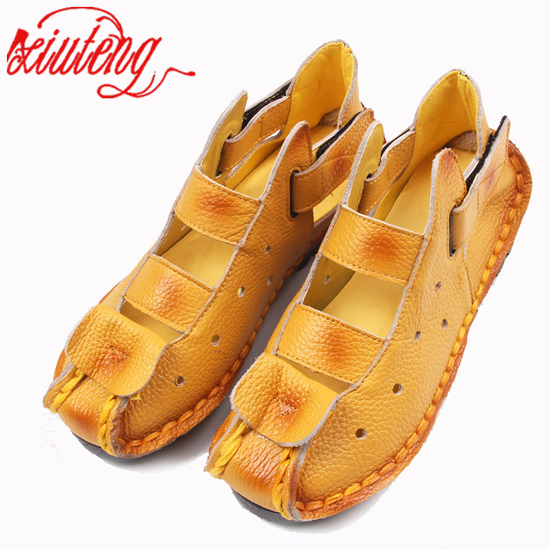Xiuteng Summer New Soft Bottom Flat Leather Shoes Personality Casual Women Sandals Tunnel Vintage Handmade Sandals For spring xiuteng new summer thick high heels sandals genuine leather women shoes flower personality leisure women handmade sandals sapato