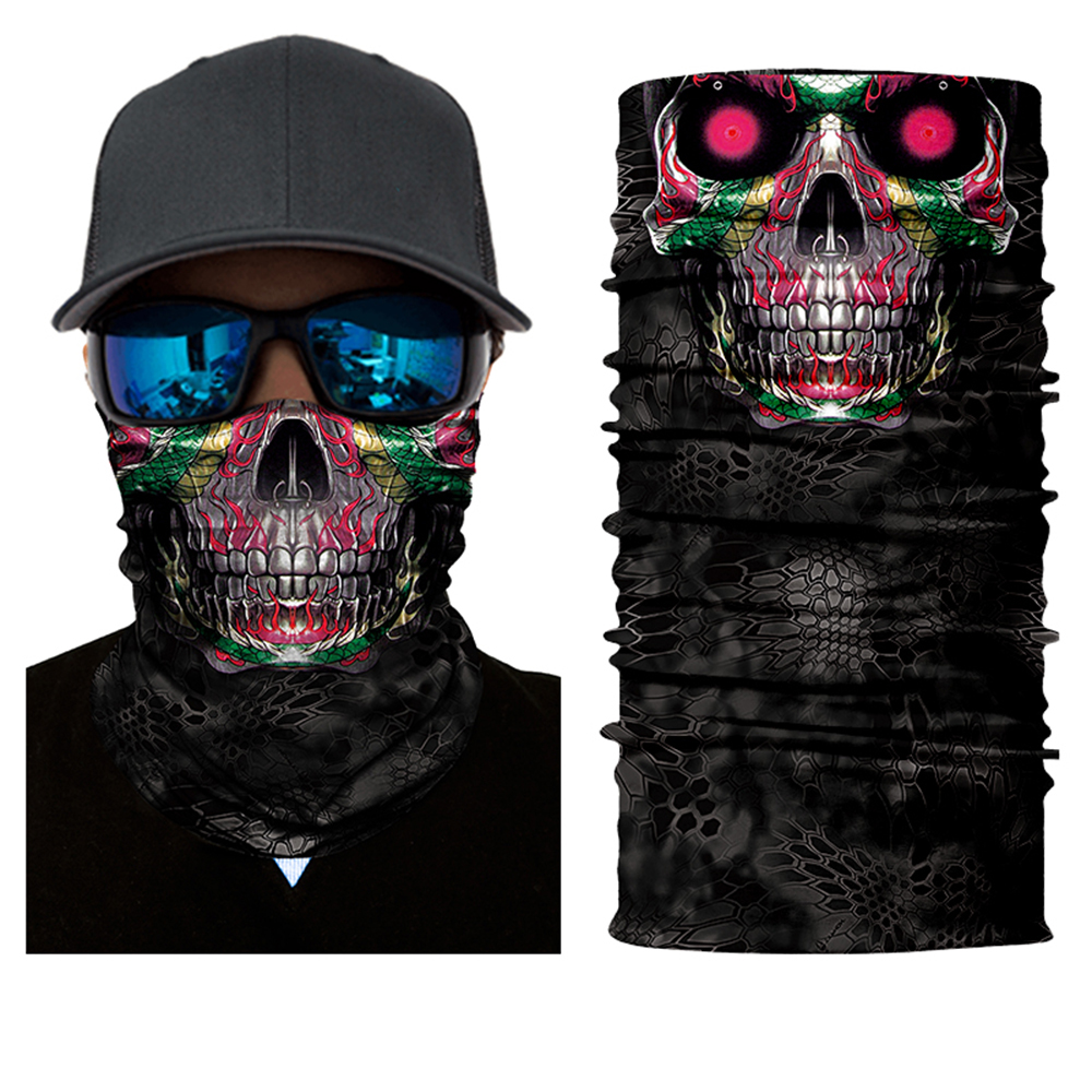BJMOTO 3D Seamless Magic Motorcycle Face Shield Balaclava Mask Motocross Outdoor Ghost Skull Bandana Headband Scarf