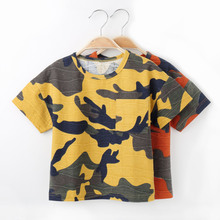 Toddler boy Camouflage T-shirt Children's Geometric Pattern O-Neck T Shirts Baby Kids Cotton Clothing Fashion Casual Clothes