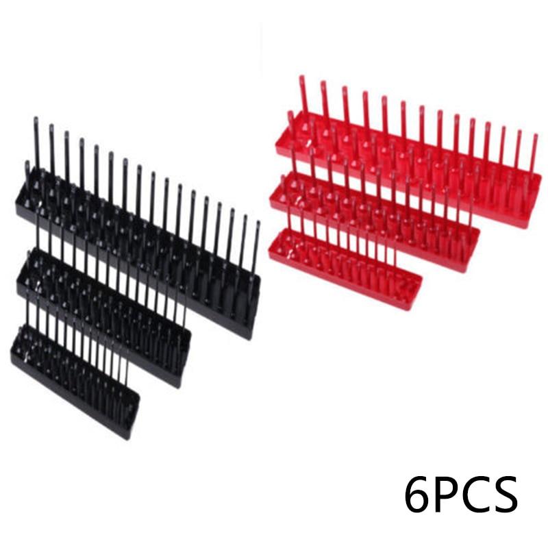 цена на 6PCS Socket Organizer Black+Red 1/4 3/8 1/2 in Drive Metric Deep Standard Sockets Total Molded Plastic Tray for Garage Workshop