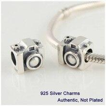 Se adapta a Pandora pulsera Garantizado 100% 925 de moda plata Encantos Roscadas Joyería Cámara Envío Gratis L076