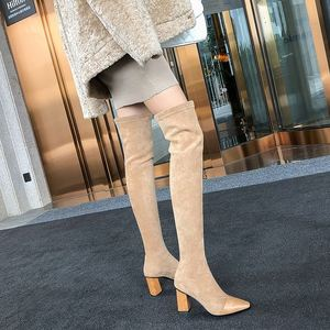 Image 5 - MORAZORA 2020 جديد بوط من الجلد الطبيعي الجلد المدبوغ سميكة عالية الكعب فوق الركبة أحذية النساء أشار تو تمتد الفخذ أحذية عالية