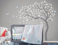 ZM77Vinyl Nursery Tree Wall Sticker Mural Adhesive Modern Decoration Wall Decals Wall Stickers for Kids Nursery Rooms Home Decor