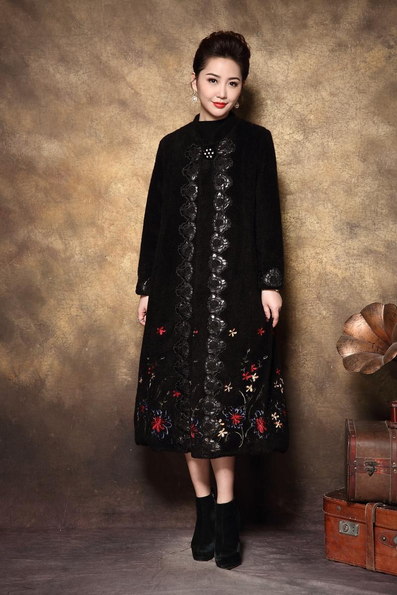 Vison Élégant Moyen Outwear La Femmes Pardessus Parkas Faux Manteau D'âge Mode De Noir Épais D'hiver Les Broderie Taille Outfit Cheveux Long Chaud Plus ZEFqxznzfw