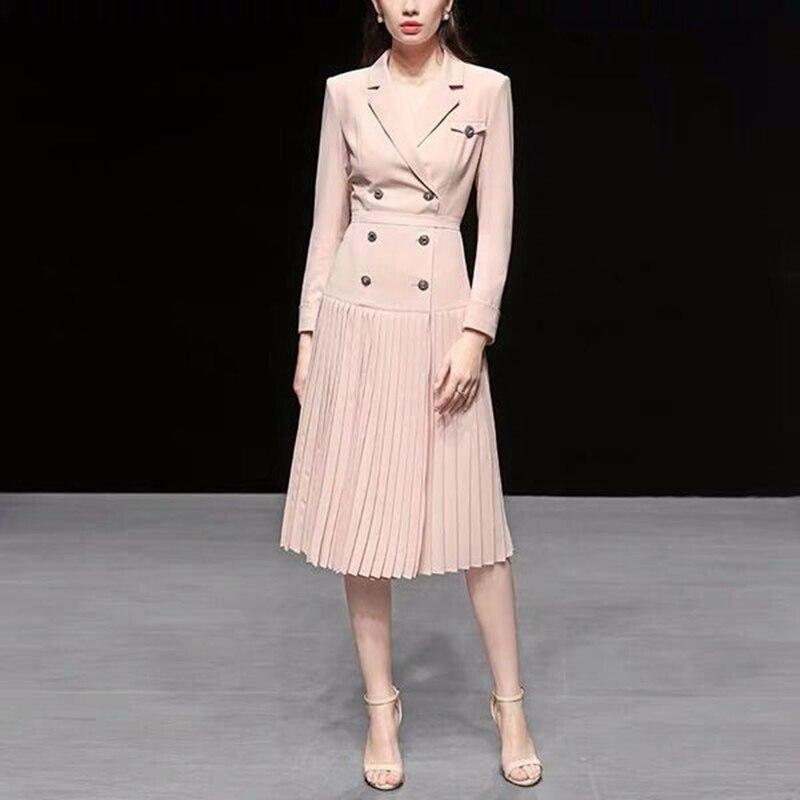 2019 Printemps nouvelle mode robe pour femmes style coréen longue robe plissée à manches longues À Double Boutonnage Solide robe colorée