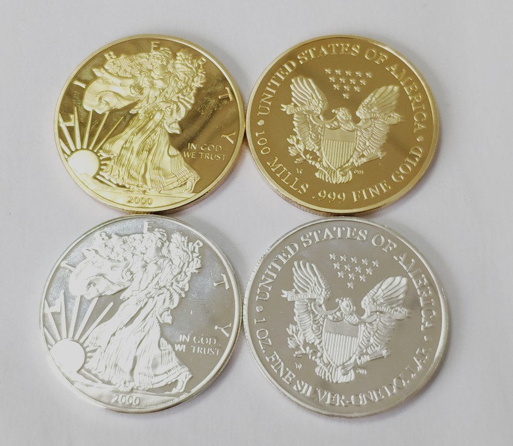 Free shipping! 2000 America Gold coin/ Silver coin One Dollar Eagle 1troy oz . Round coin+American gold/silver eagle 1OZ