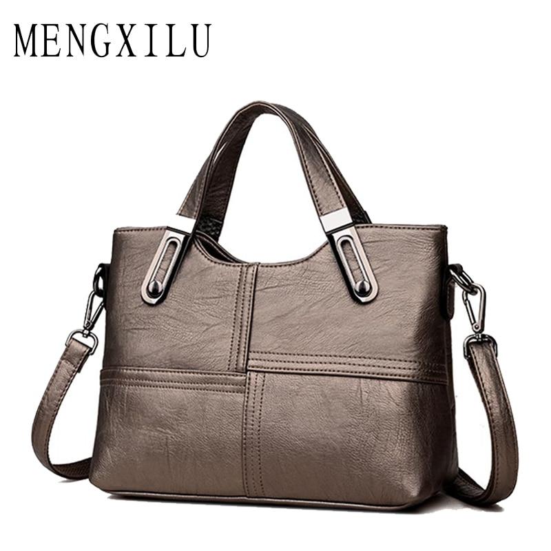 MENGXILU Brand 2018 Crossbody Bags Women Designer Handbags High Quality Pu Leather Bags Ladies Classic Solid Unique Metal Handle