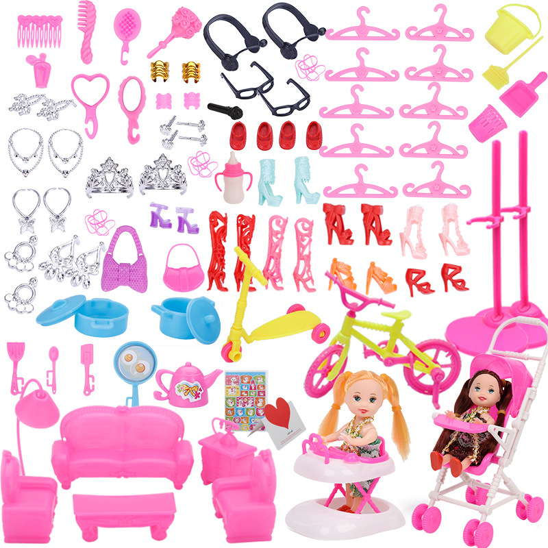 108pcs/set Mix doll plastic furniture Mini game toy hanger for accessories dollhouse DIY toys girl gift