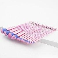 GUJHUI 12Pcs Makeup Brushes Transparent Crystal Bling Bling Glitter Handle Brush Powder Foundation Make Up Brushes