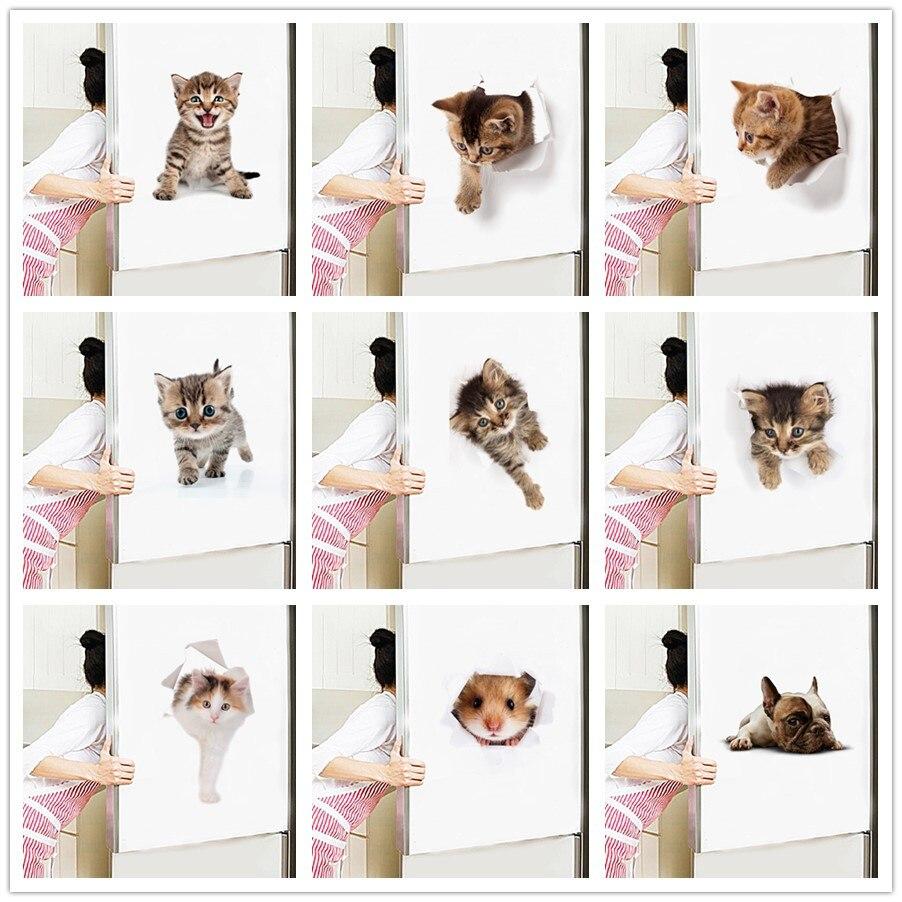 % 3D Cats Wall Sticker Toilet Stickers Hole View Vivid Dogs Bathroom Room Decoration Animal Vinyl Decals Art Fridge Poster