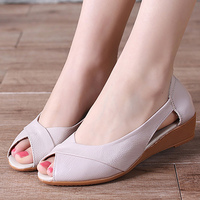 Wedges Sandals For Women Plus Size 41 Hollow Breathable Summer Female Shoes Patent Leather Mature Solid