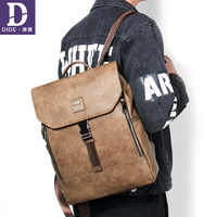 DIDE Fashion Casual 14 Inch Laptop Backpack PU Leather Korean Simple School Bags For Teenage Girls