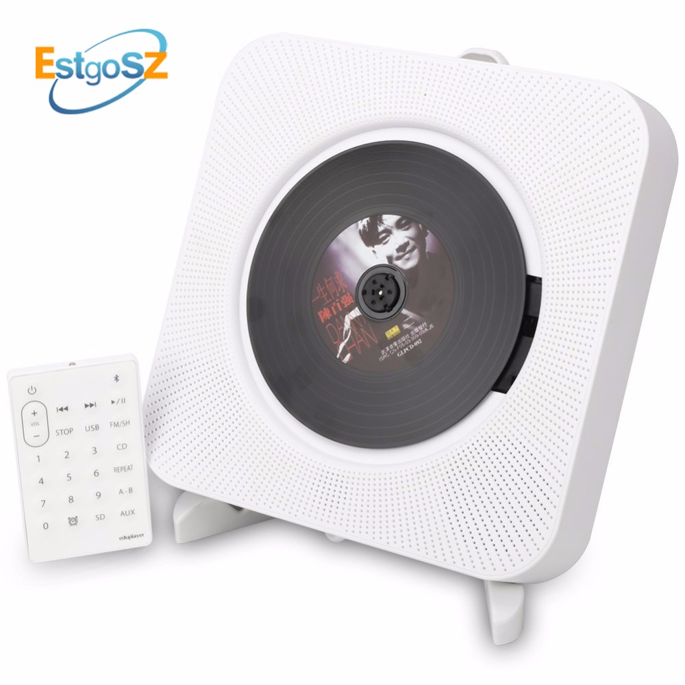 KECAG EStgoSZ CD Player Wall Mountable Bluetooth Portable Home Audio Box with Remote Control FM Radio Built in HiFi Speakers MP3