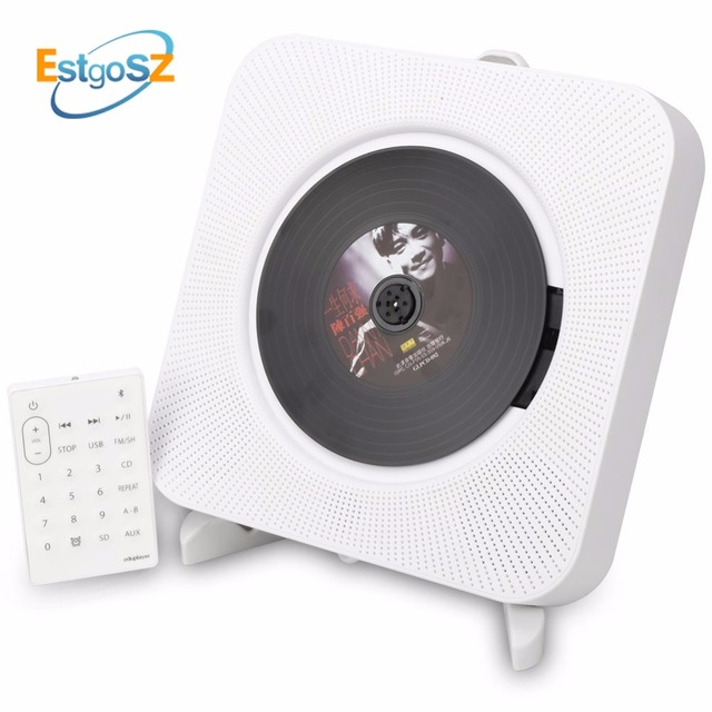 QPLOVE EStgoSZ مشغل أقراص مضغوطة قابلة للتركيب على الحائط بلوتوث المحمولة الرئيسية صندوق الصوت مع جهاز التحكم عن بعد راديو FM المدمج في مكبر هاي فاي MP3