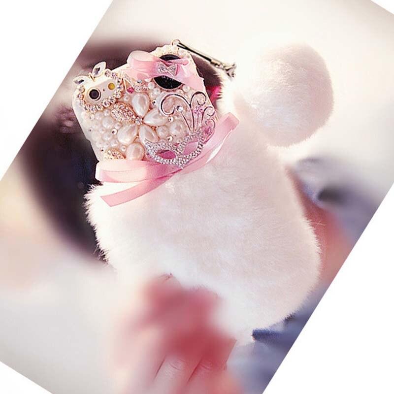 imágenes para Capa de pelo de piel de conejo rex real case para samsung galaxy grand prime g530 core 2 g355h grand 2 neo diamante coque pompón perla funda