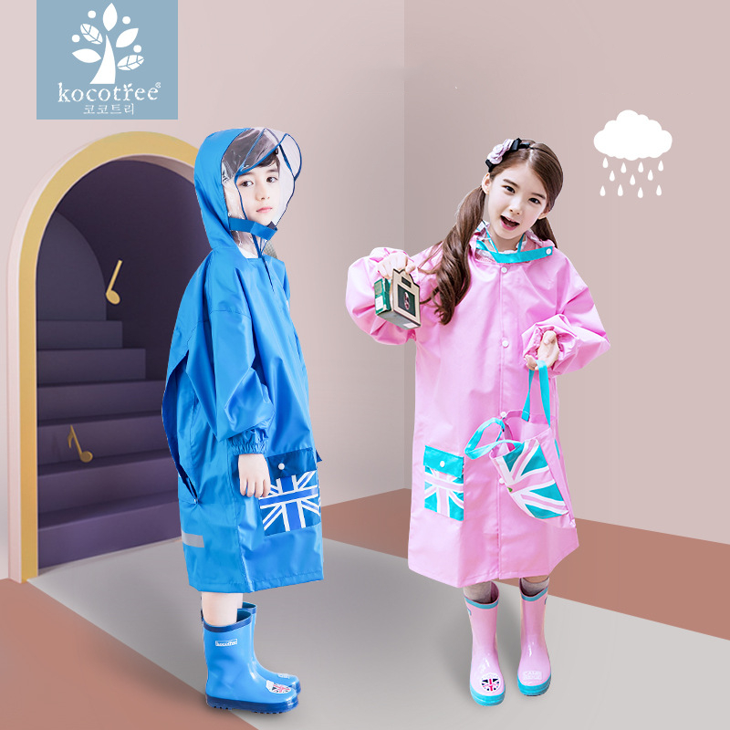 Height 90 160 cm waterproof raincoat for children rain coat for kids rain suit students high end luxury raincoats backpack in Raincoats from Home Garden