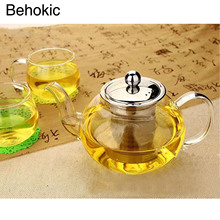 Sale Behokic 800ml Clear Glass Teapot High Temperature Resistant Loose Leaf Flower Tea Pot with Stainless Steel Infuser Strainer Lid