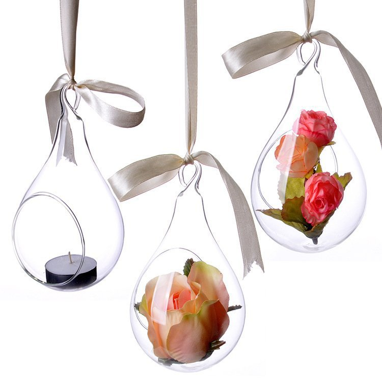 3pcs New Style Hanging Glass Vase Ceiling Drop Ball Water Shape