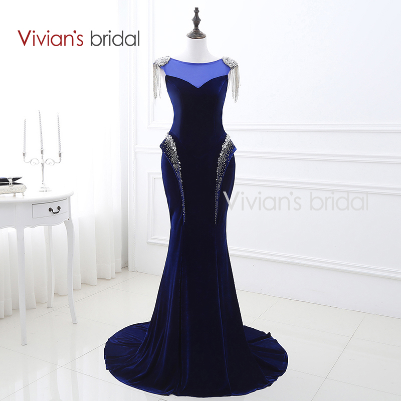 Свадебное платье Vivian's темно-синее велюровое с русалкой Вечернее платье с пайетками с блестками и рукавами с рюшами Вечернее платье с длинными рукавами 22247