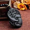 New Arrive Natural Jade Black Obsidian Hand Carved Chinese Buddha Lucky Amulet Good Luck Ruyi Fortune Pendant Fashion Jewelry
