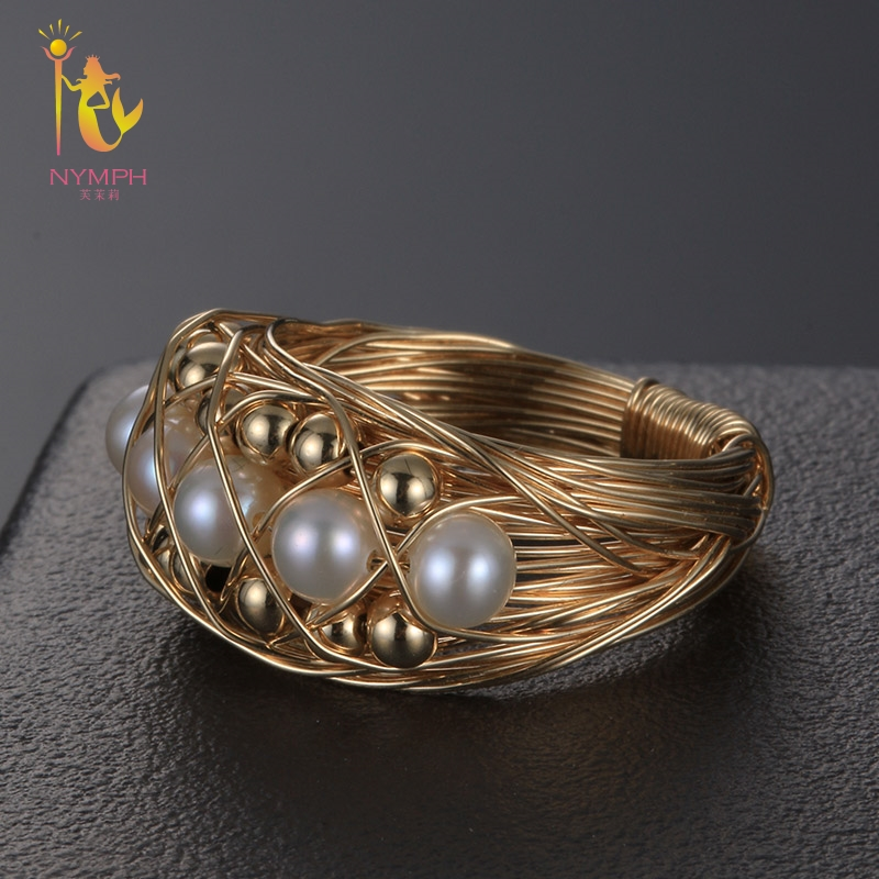 NYMPH Fine Jewelry Pearl Rings For Women Near Round Natural Pearl Wedding Bands Birthday Gift J312 on near la rings