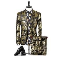 Kurtki + Spodnie Złota Drukowane Męskie Wysokiej Jakości Kwiat Marka Dwuczęściowy Kostiumy Sceniczne Stroje Marynarka Moda Rozrywka Płaszcz Gent życie