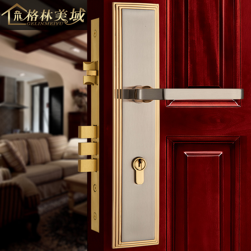 Copper Lock Pure Copper American Copper Door Lock European Interior Door Lock Door Handle Black Room Door Lock handle auxiliary locked copper door door handle lock double door door lock door lock