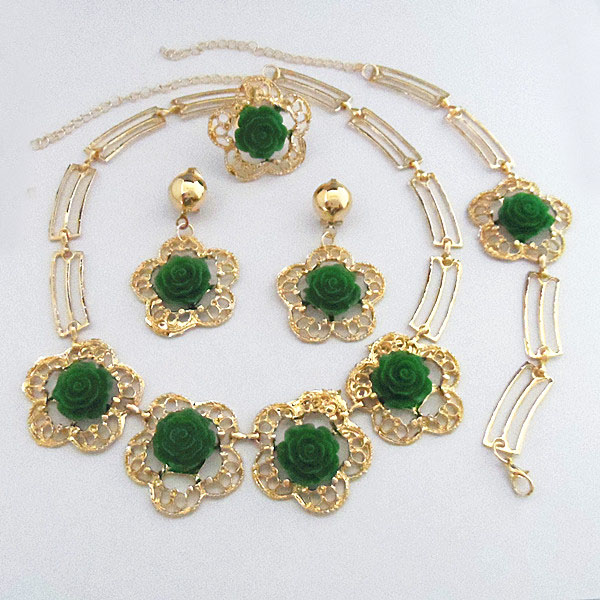 High Quality Gold Color Green Rose Flower Jewelry Set Wedding Bridal Dress Necklace Bracelet Ring Earrings In Sets From