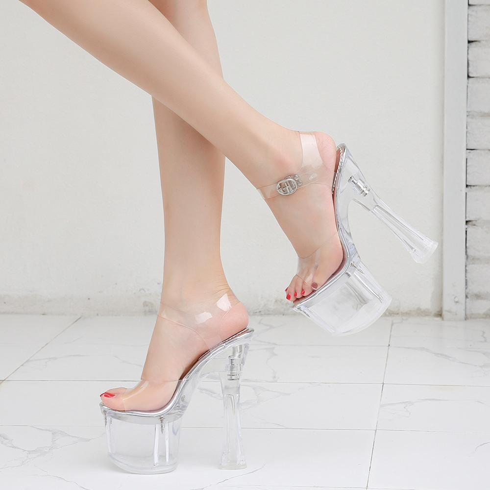 Women'S Summer Shoes 2019 Platform 8cm Heels PVC Sandalias Bohemio Transparen Sexy Casual Clear Heels Sandals Super High 18CM