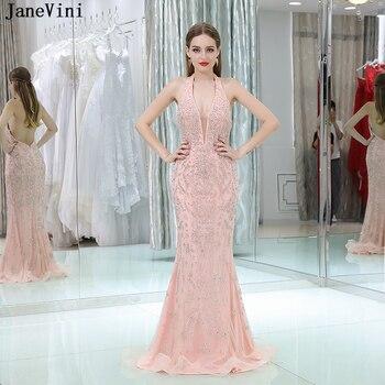 4087e8fa93 Vestidos de dama de honor largos con cuentas completas rosa de lujo de  Dubái de JaneVini con escote en V profundo sexi vestidos de fiesta formales  de tul de ...