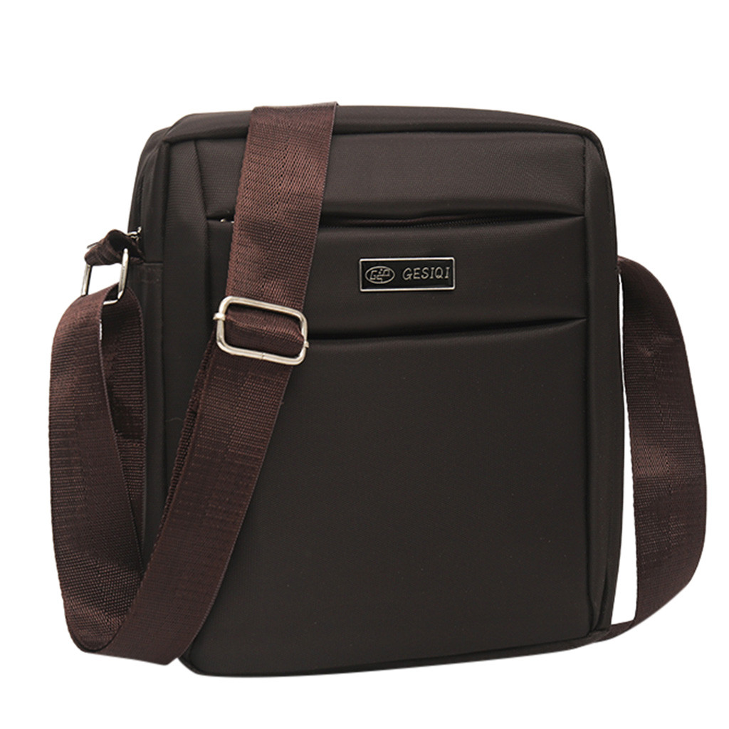 Men's Classic Casual Solid Color Business Shoulder Bag Big Capacity Portable Thick Leather Square Bag Outdoor Messenger Bags
