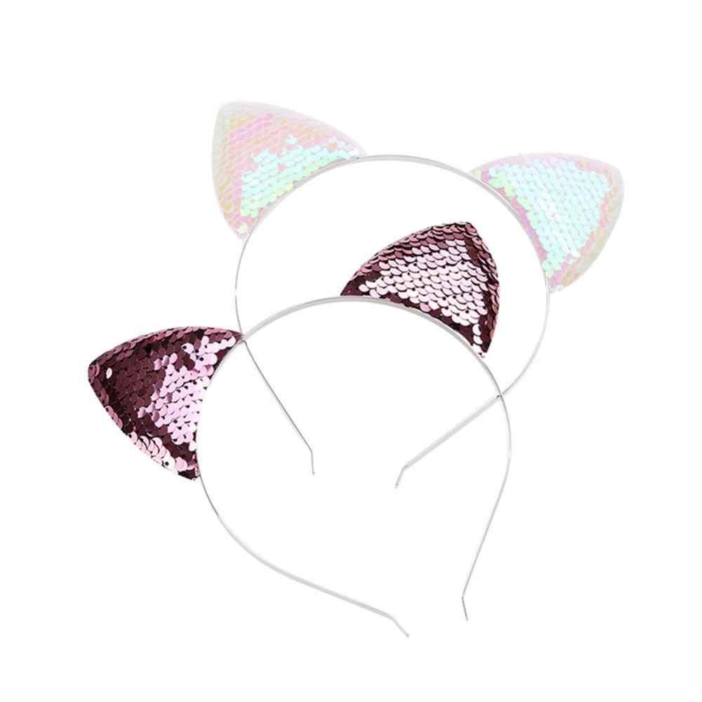 Блестящая повязка с блестками, повязка для волос с кошачьими ушками, повязка на голову, обруч для волос для девочек, Женский ободок для кошачьих ушей, головной убор для Хеллоуина, подарки