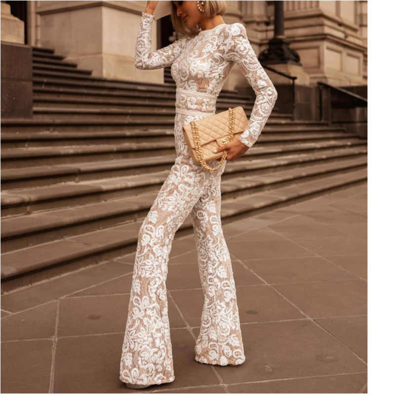 Elegant white lace ฤดูร้อน jumpsuit ผู้หญิง combinaison femme rompers womens jumpsuit mono mujer overalls ลูกไม้