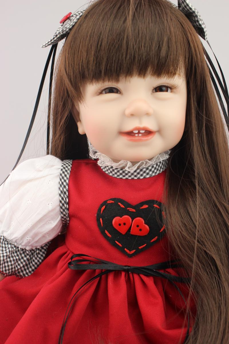 22 silicone reborn girl dolls sweet princess dolls brown long hair red dress for children toys bonecas22 silicone reborn girl dolls sweet princess dolls brown long hair red dress for children toys bonecas