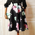 2016 Spring New Floral Print Midi Skirt Women Vintage Fashion Ladies High Waist Knee-length Pleated Skirt Space Cotton Flower