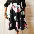 2016 primavera New Floral imprimir saia de Midi mulheres senhoras da forma do Vintage de cintura alta na altura do joelho saia plissada espaço de algodão flor