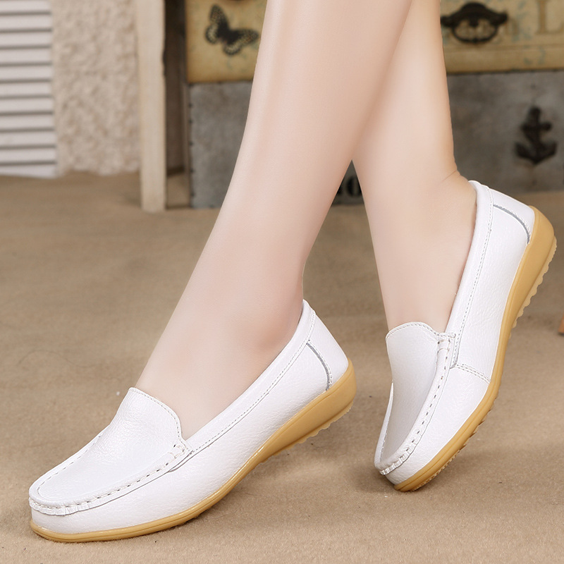 Women Shoes fashion Oxfords Flats Genuine Leather shoes woman Loafers Driving Shoes Moccasins Colors Slip On footwear qmn women crystal embellished natural suede brogue shoes women square toe platform oxfords shoes woman genuine leather flats