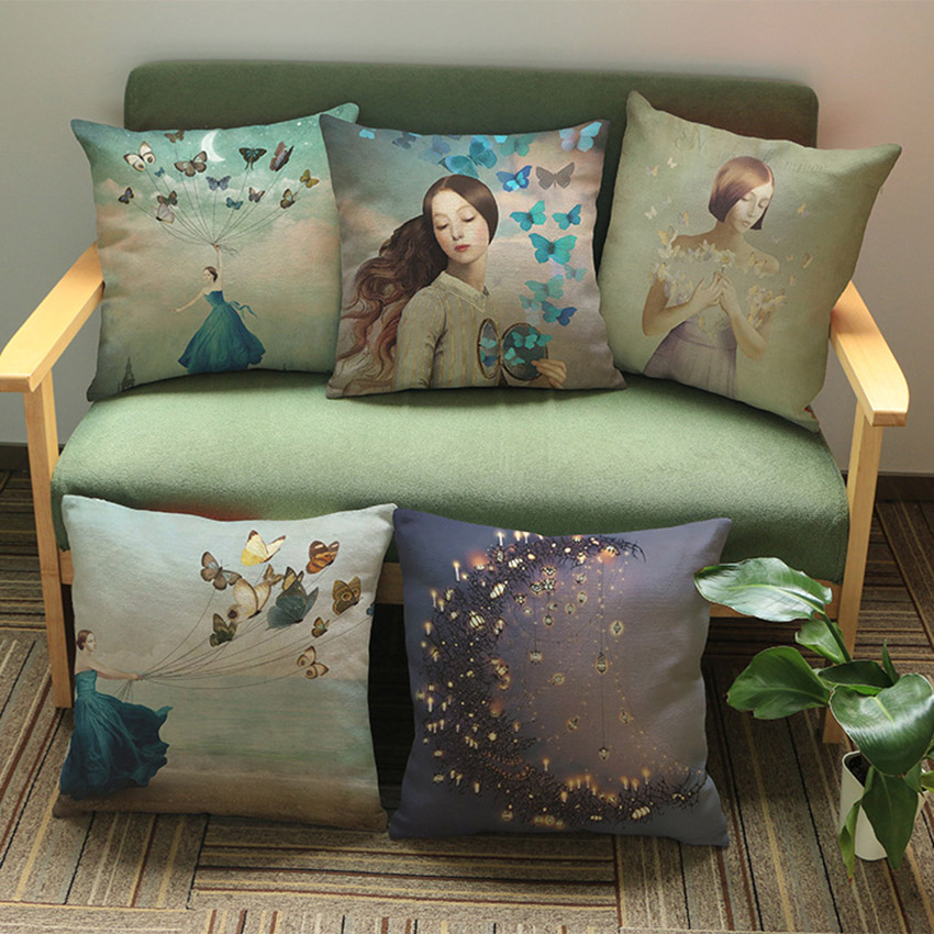 european aestheticism artistic girl and buttlefly office decorative pillows for sofa dreaming. Black Bedroom Furniture Sets. Home Design Ideas
