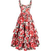 GoodliShowsi Fashion Designer Runway Sexy Backless Floral Print Cascading Ruffles Ball Gown Dress Summer Women Strap Beach Dress
