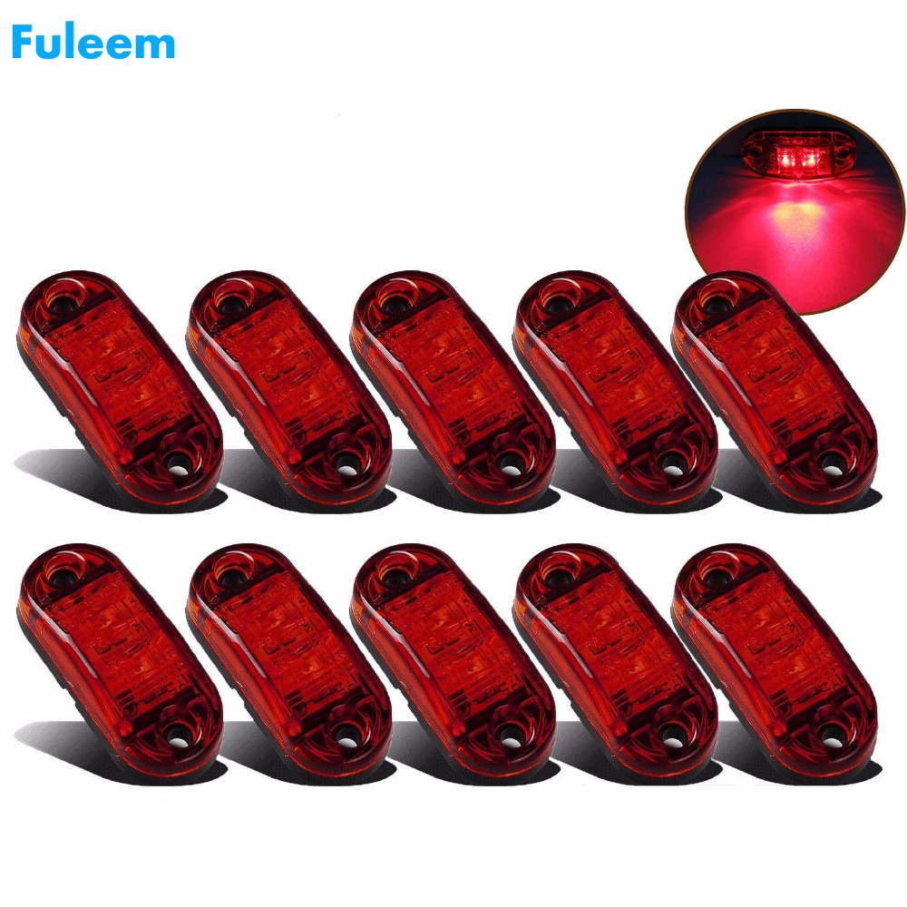 Fuleem 10PCS Red LED 2.5INCH 2 Diode Light Oval Clearance Trailer Truck LED Side Marker Lamp 12V 24V Waterproof
