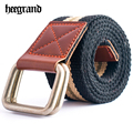 HEE GRAND 2017 Men Casual Stripped Thick Canvas Belts Man's Double Buckle Knitted Belt Ceinture Homme PYB113