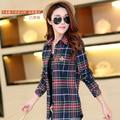 Cotton long-sleeved plaid shirt Slim plaid shirt female