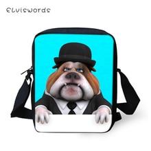ELVISWORDS Flaps Messenger Bags Small Women Cute Girls Crossbody Bag Little Bulldogs Prints Pattern Fashion Shoulder Purses